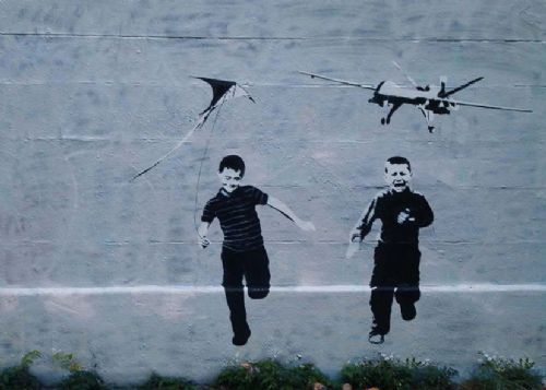 BANKSY - DRONE canvas print - self adhesive poster - photo print